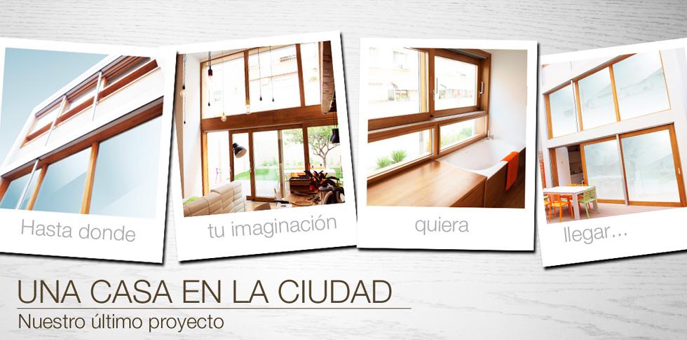 una casa en la ciudad - ventana de madera